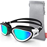 Zionor Swimming Goggles, G1 Polarized Swim Goggles with Mirror/Smoke Lens UV Protection Watertight Anti-Fog Adjustable Strap Comfort fit for Unisex Adult Men and Women, Teenagers (Color: A4-G1-Polarized Gold Lens White Frame, Tamaño: One Size)