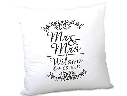 Personalizado Mr & Mrs funda de cojín aniversario de boda ...