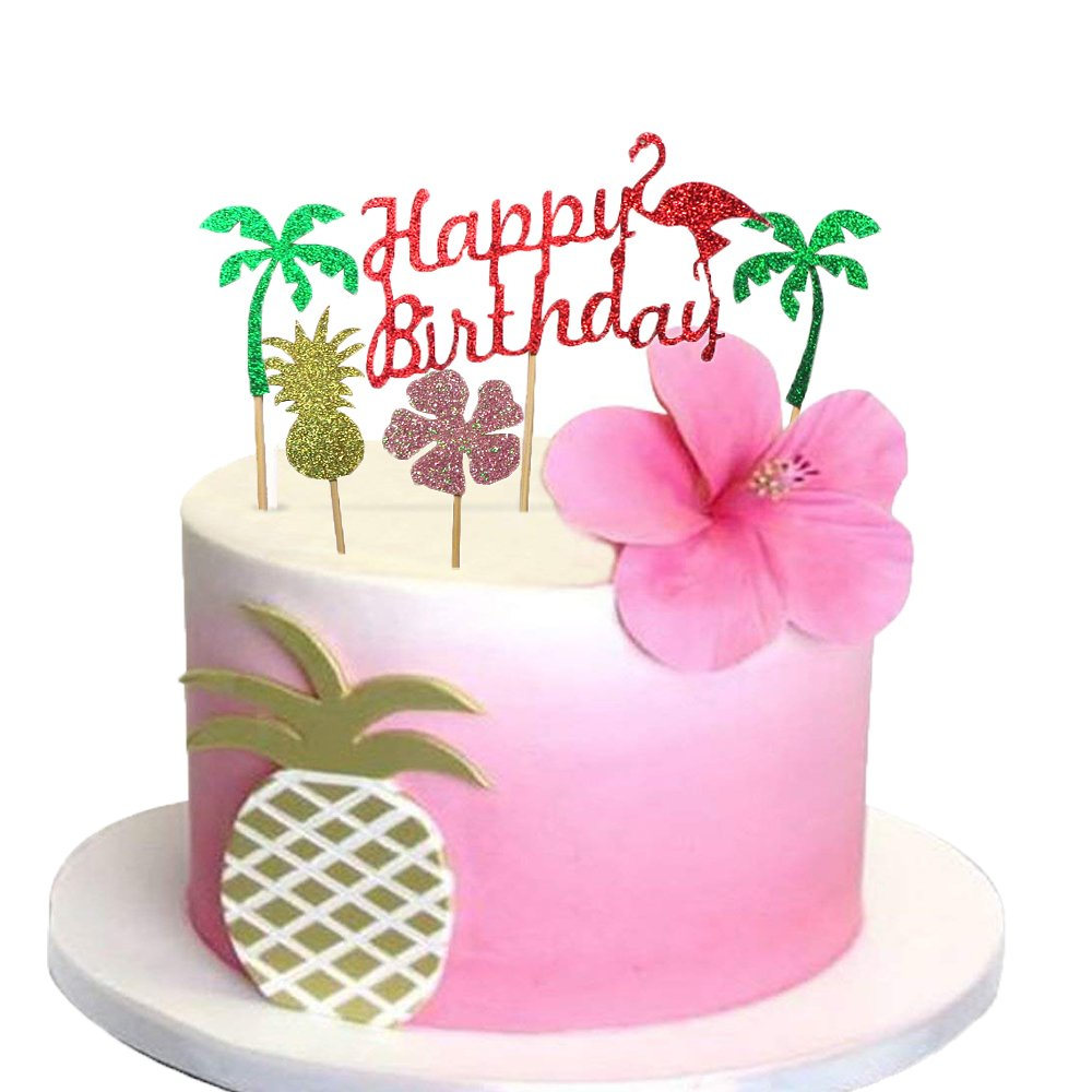 Glitter Luau Cake Topper Flamingo Happy Birthday Cake Picks ...
