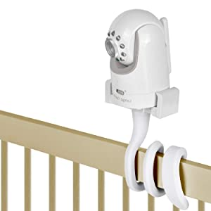 iTODOS Baby Monitor Mount Camera Holder Compatible with Infant Optics DXR 8 and Most Other Baby Monitors,Universal Baby Camera Stand,Baby Monitor Shelf,Attaches to Crib Cot Shelves or Furniture(White)