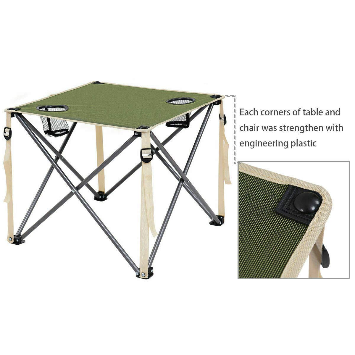 ANA Store Enjoy Barbecue Party Curl Stand Iron Stell Frame Green Oxford Portable Folding Table Chairs Set Inside Outside Camp Beach Picnic with Carrying Bag by ANA Store (Image #5)