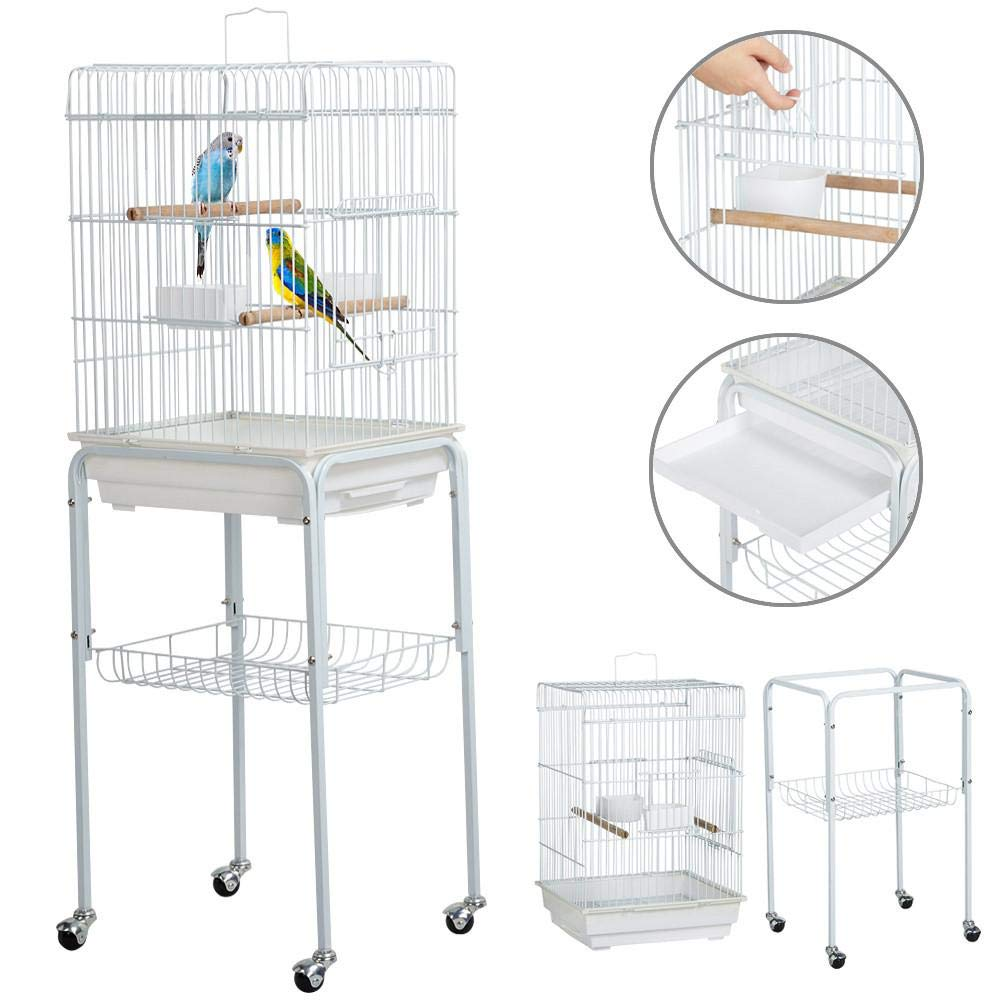 Yaheetech 47'' Iron Rolling Small Bird Cage for Caique Quaker Monk Indian Ring Neck Mid-Sized Parrots Cockatiels Sun Parakeets Green Cheek Conures Pet Bird Cage with Detachable Stand, White by Yaheetech