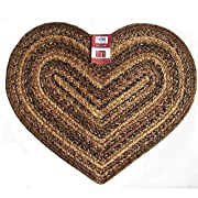 IHF Home Decor Cappuccino Heart Jute Braided Rug 20 x 30 Inch
