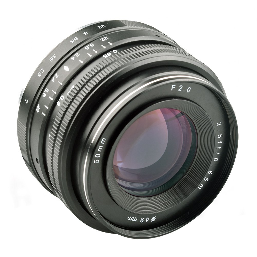 Lightdow 50mm f/2.0 Fixed Manual Focus Lens for Sony Alpha a6000 a6300 a6500 a5100 a5000 NEX7 NEX6 NEX5n NEX5r NEX5t NEX5 NEX3 NEX3N Mirrorless Digitial SLR Camera