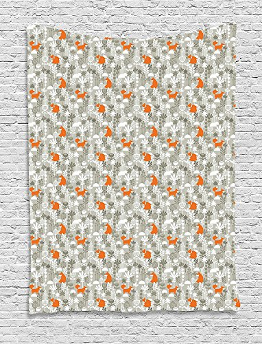 Fox Tapestry, Small Animals of the European Forests Doodle Style Floral Arrangement, Wall Hanging for Bedroom Living Room Dorm, 60 W X 80 L Inches, Resheda Green Orange White by asddcdfdd
