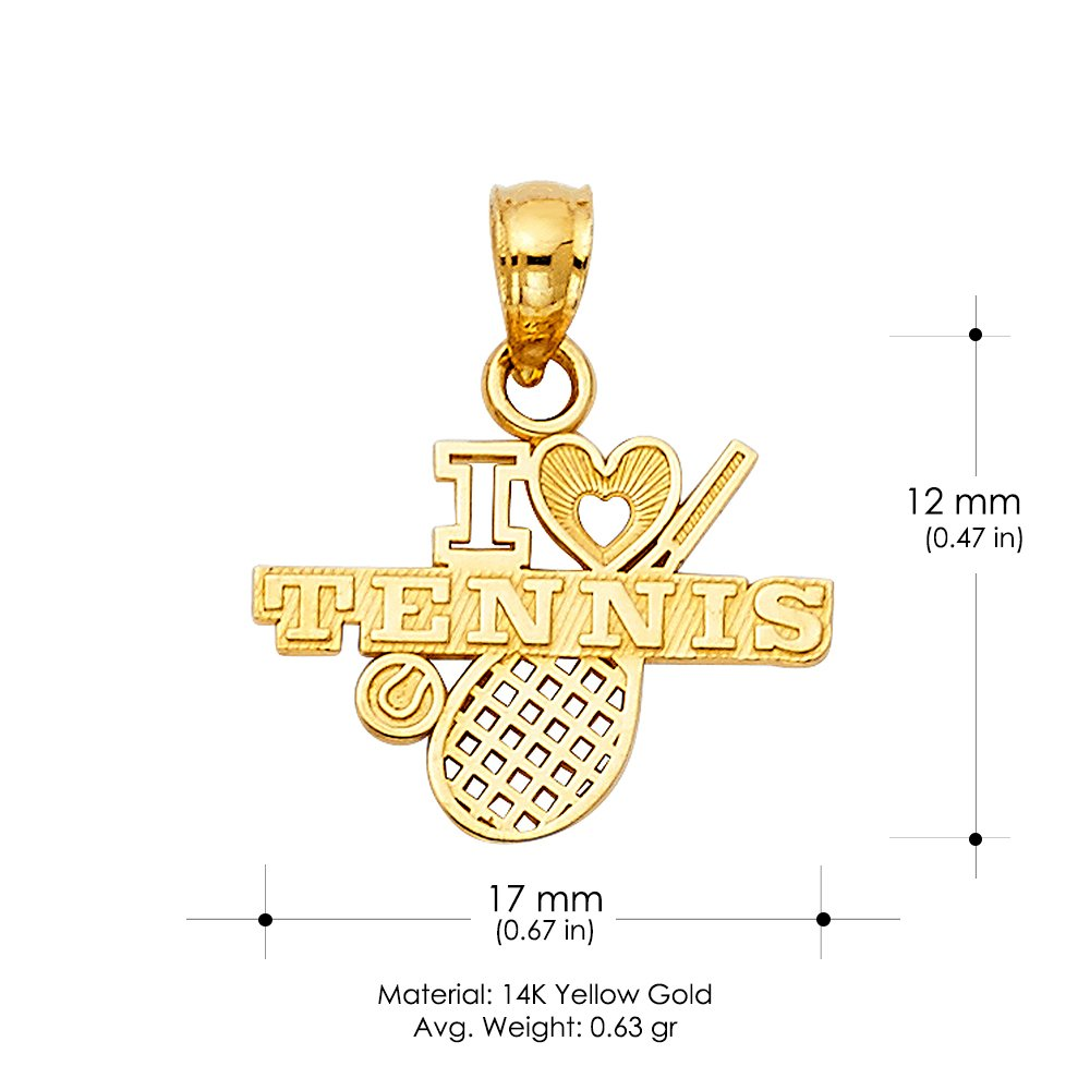 14K Yellow Gold I Love Tennis Charm Pendant For Necklace or Chain