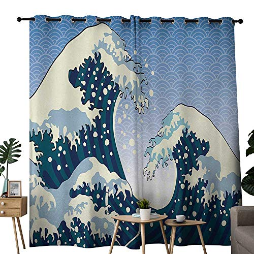 NUOMANAN Bedroom Curtains 2 Panel Sets Japanese Wave,Far Eastern Painting Oceanic Storm Theme Tsunami Wind Water Artwork,Teal Blue White,Complete Darkness, Noise Reducing Curtain 54