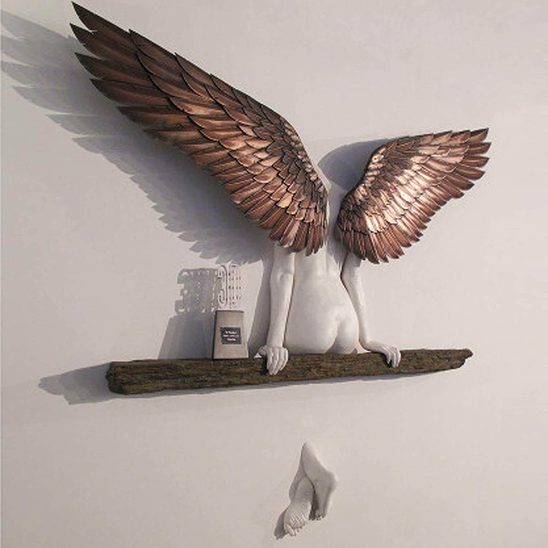 Angelo Art Scultura Decorazione,Murale Statua 3D,Parete Decorazione Angelo Scultura Scultura Decorazione Parete 3D Statua per Soggiorno Camera da Letto Decorazione