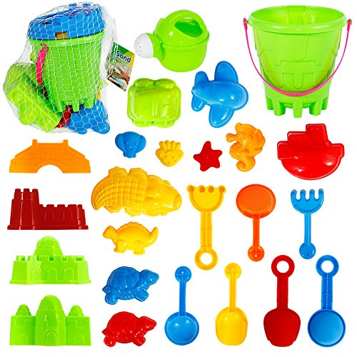 FunsLane Outdoor Beach Sands Toys Set, with Bucket, Rake, Sand Play Tools Gift Toy for Kids Children, 25 Pcs