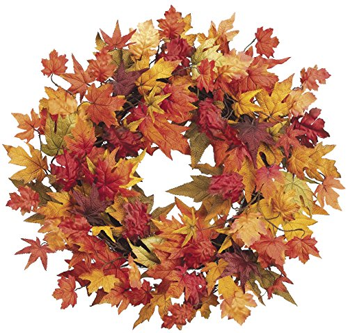 28 Inch Large Fall Wreath with Mixed Maple Leaves, Thanksgiving Wreath (Outdoor Fall Wreath)