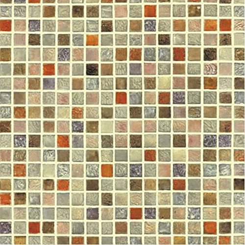 Very Berry Sticker Multi Color Tile Mosaic Pattern Interior Film Self-Adhesive Peel-Stick Vinyl Wallpaper Bathroom Waterproof Kitchen (Multicolor Mosaic Tile)