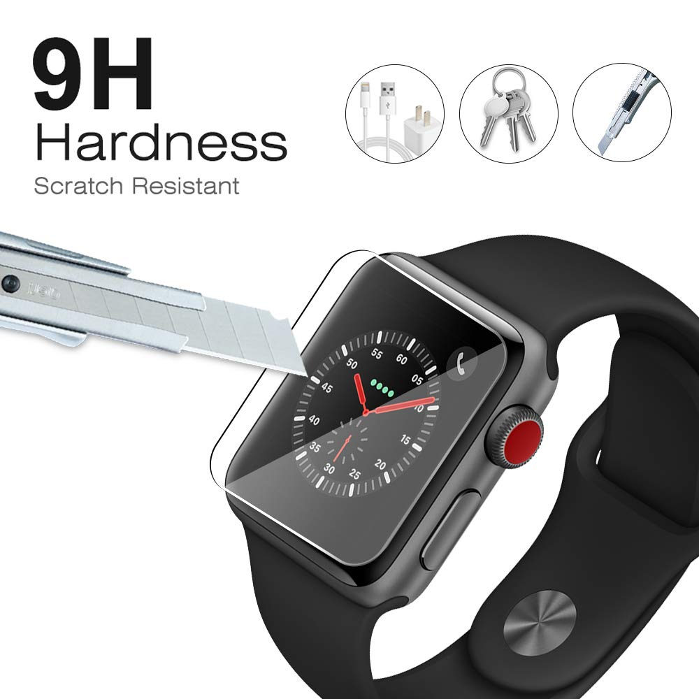 Etmury Screen Protector for Apple Watch 42mm Series 3/2/1, [6 Pack] 9H Hardness Tempered Glass Anti-Scratch Anti-Fingerprint Anti-Bubble Easy Installation, iWatch Case Only Covers Flat Area (Clear) by Etmury (Image #2)