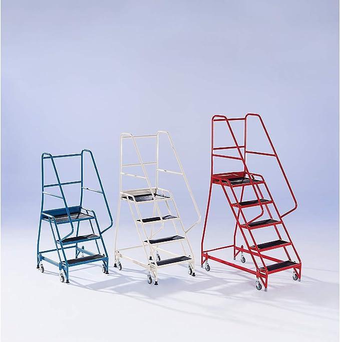 Escalera de seguridad Mobile – con Garde-Corps de los dos lados, 5 marchas Beige – Escalera de seguridad escaleras de seguridad plataforma móvil plataformas móvil escalera escaleras plataforma con ruedas (plataformas roulantes: