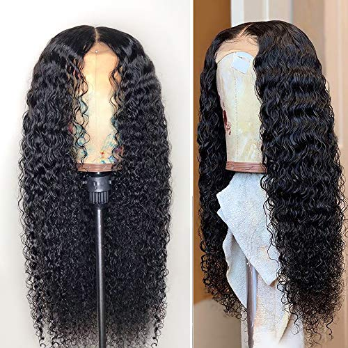 Fureya Glueless Lace Front Wigs for Women Natural Water Wave Heat Resistant Fiber Synthetic Hair with Baby Hair 24 inch Lace - Half Wigs Lace Front