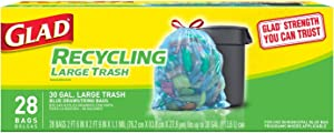Glad® Large Drawstring Recycling Bags - 30 Gallon Blue Trash Bag - 28 Count(Package May Vary)