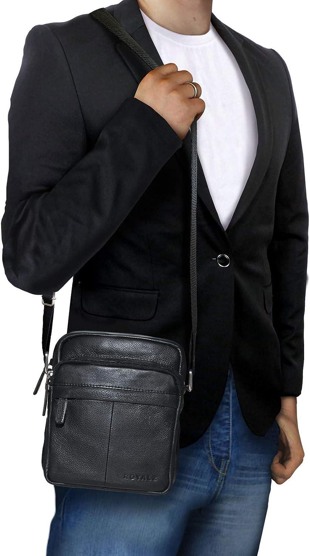 ROYALZ Sac /à Main Bandouli/ère Petit Homme Sacoche Cuir V/éritable Vintage Messager Besace Sac /à l/épaule Couleur:Noir