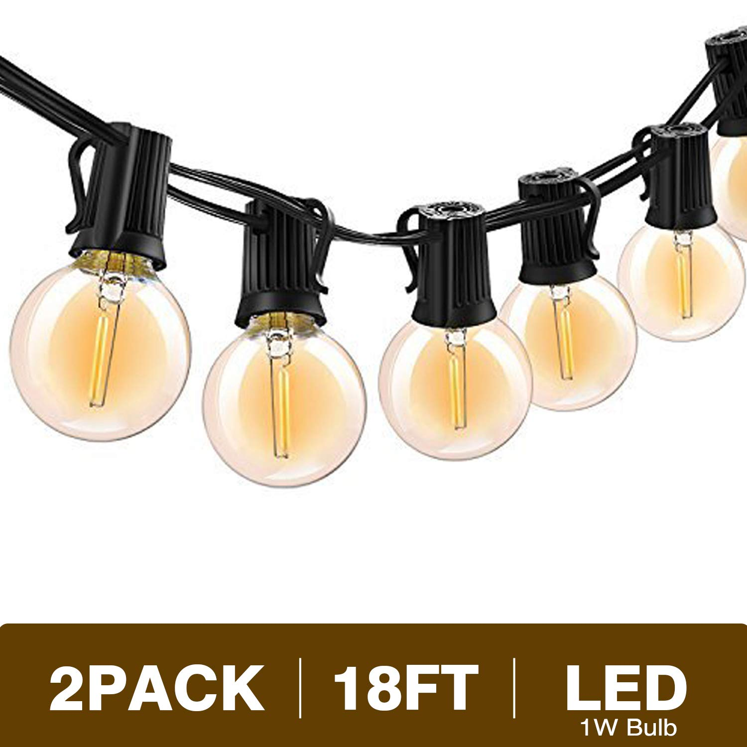 Svater G40 Led String Lights 18Ft 10 Hanging Socket with 10 Globe Vintage LED Bulbs 1W 2700K Warm White Non Dimmable IP45 Waterproof Indoor/Outdoor Light String for Backyard Tents Market Cafe Porch Party 2 Pack