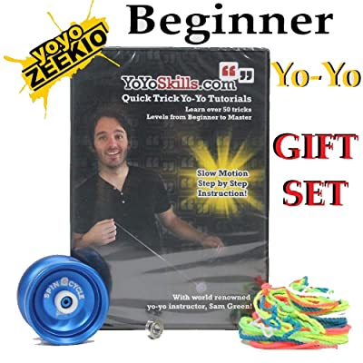 Zeekio Beginner Yo-Yo Gift Set - Spin Cycle Aluminum YoYo, Strings, Tutorial DVD by Sam Green: Toys & Games