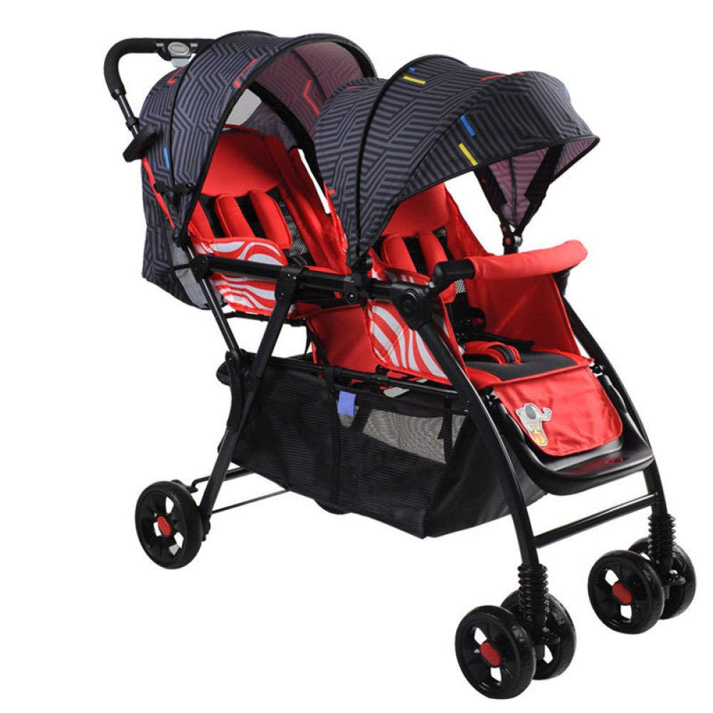 A RAQ Baby strollers twins Thicken steel pipe ultra-lightweight folding can sit can lie high landscape umbrella baby trolley (color   A)