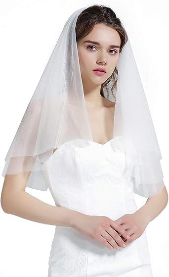 "Wedding Bridal Veil Elbow 3 Tiers  24/"" 26/"" 28/"" Length Colored Ribbon Edge"