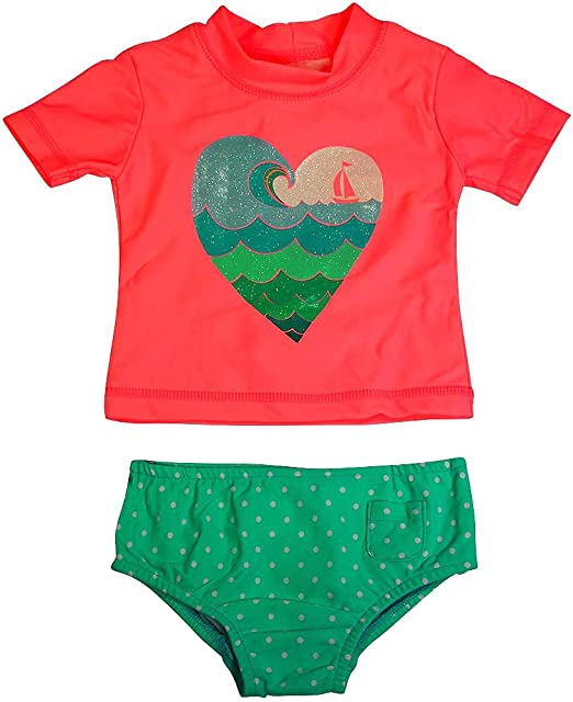 ac29a24640 Carter's - Baby Girls 2PC Short Sleeve Heart Rashguard Swim Set, Light  Pink, Aqua