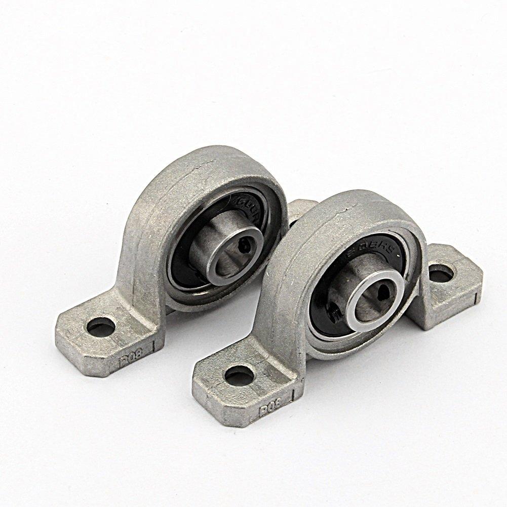 Bloque de rodamientos - Cojinetes de bloque de almohada, soporte montado en el centro autoajustable de diámetro interno de brida, 2 piezas (Size : 20mm) Dewin
