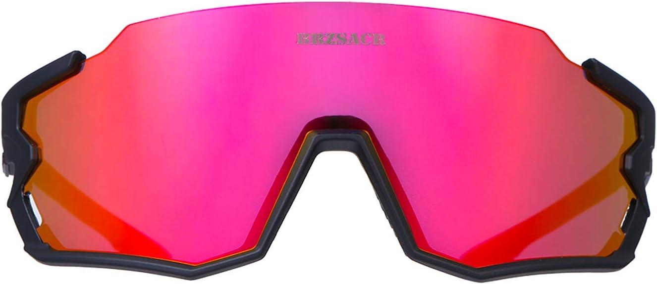 BRZSACR Gafas de Sol Deportivas,CrazyFire UV 400 Protecci/ón Gafas Deportivas Polarizadas con 3 Set De Lentes Intercambiables para Hombre Mujer.