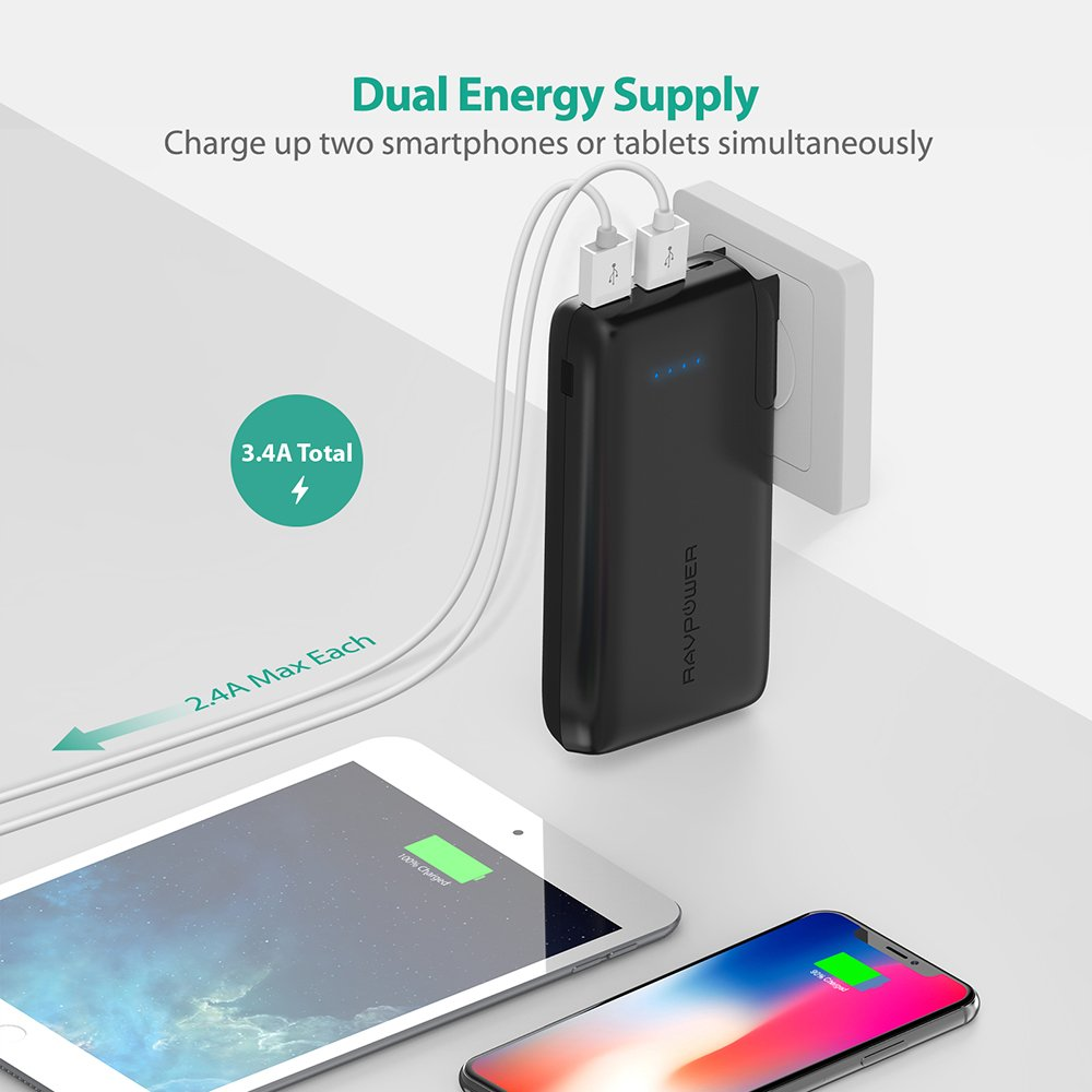 Portable Charger 10000 RAVPower 2-in-1 Wall Charger and Power Bank, 10000mAh Capacity with AC Plug, Dual iSmart 2.0 USB Ports, 3.4A Max Output for iPhone X, iPhone 8, iPad, Samsung Galaxy and More by RAVPower (Image #5)