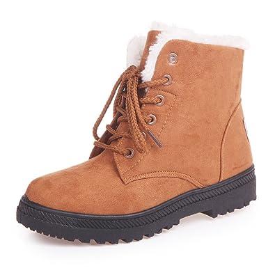 Women's Fleece Lined Suede Platform Lace Up Winter Boots