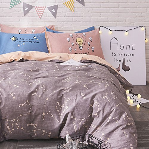 WarmGo Home Bedding Constellation Function Pattern Design Duver Cover Set 4 Piece Full/Queen for Adult Kids Bedding Set with 2 Personaltiy Pillowcase - Not Include Comforter by WarmGo