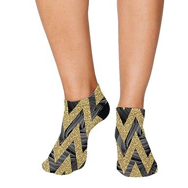 62425b5cc Black Palm Leaves Golden Stripes Pattern Men-Women Adult Ankle Socks Crazy  Novelty Socks Polyester