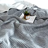 J-pinno Grey Stripes Jersey Cotton Cozy Quilt Reversible Throw Blanket Bedspread Bedding Coverlet for Kids Teen Boys Bed Gift (2, F/Q 78'' X 90'')