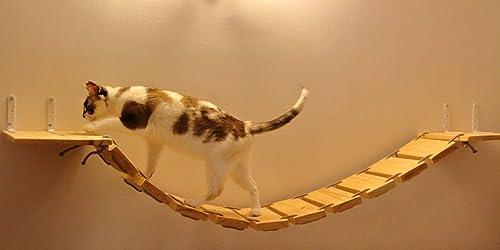 Puente colgante de madera y cuerda para gatos
