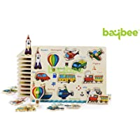 Baybee Premium Wooden Puzzles -Upper,CaseSmall Alphabet Letters,0 to 20 Puzzle, Geometric Shape Sorter,Wooden Magnetic Writing Board,Classroom Puzzle,Tangram Puzzle (Vehicles)