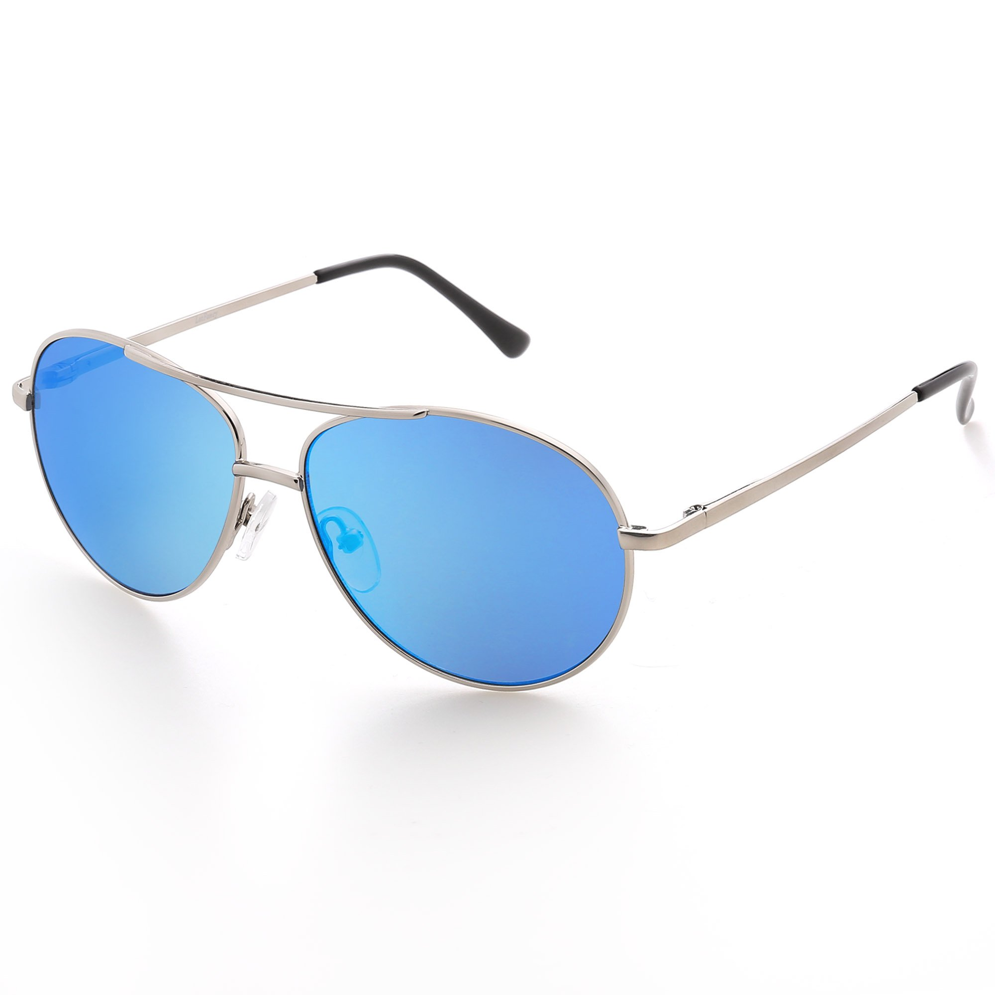 Aviator Sunglasses for Kids Girls Boys Children, Blue Mirrored Lens, Silver Metal Frame, UV Protection