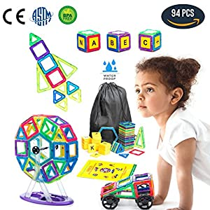 Magnetic Building Blocks - Magnetic Blocks Kids and Toddlers Learning Construction with Storage Backpack 94 pcs