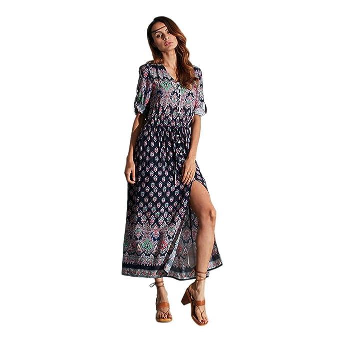2aeb4f36d065 Damen Kleider Frauen Sommerkleider V-Ansatz Strandkleid Floral Print  Maxikleid Langes Kleid A Line Minikleid Großen Größen 3 4 Hülse Abendkleid  Partykleid ...