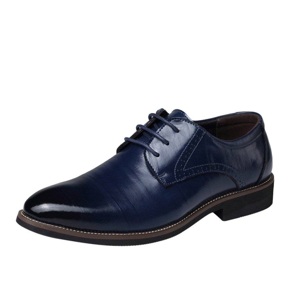 HOSOME Classical Style Men's Casual and Business Leather Pointed Shoes Men's Business Shoe Navy