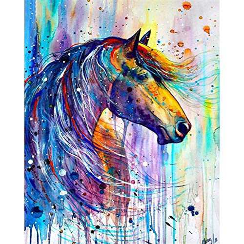(5D Full Drill Diamond Painting Kit, KISSBUTY DIY Diamond Rhinestone Painting Kits for Adults and Beginner Embroidery Arts Craft Home Decor, 15.8 X 11.8 Inch (Horse Diamond Painting 2))