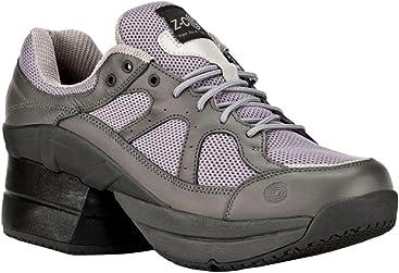 d7249ed35ab0 Z-CoiL Pain Relief Footwear Men s Liberty Slip Resistant Enclosed Coil Gray  Leather Tennis Shoe