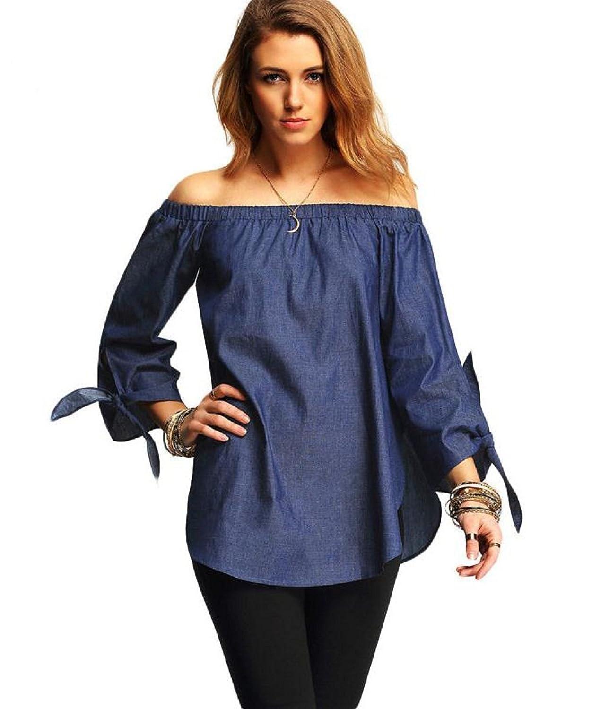 Qissy®Frauen weg von der Schulter Langarm-Strickoberteil Bluse T-Shirt