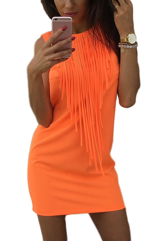 Fasumava Frauen Bodycon Mini - Kleider Mit Fransen Sommer Elegantes Sommerkleid