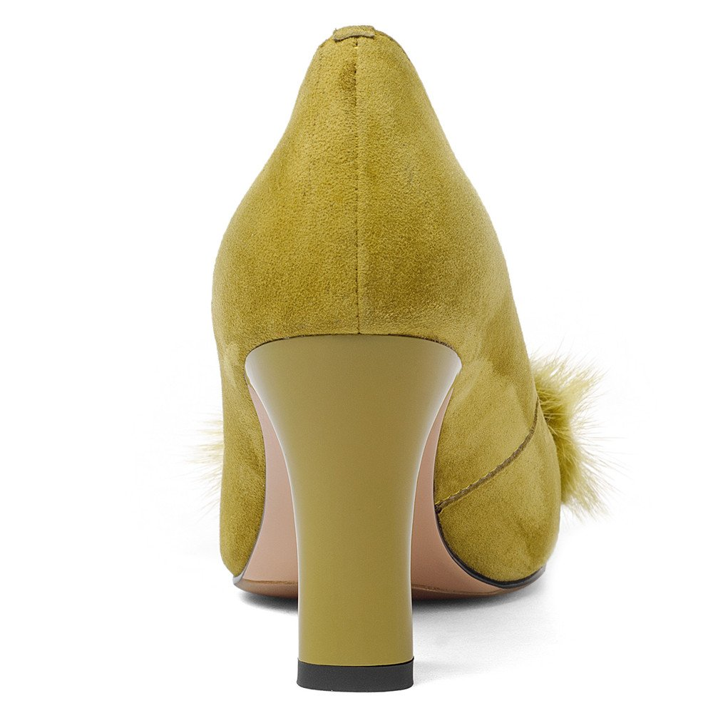 Nine Seven Suede Leather Women's Square Toe Chunky Heel Pearls Handmade Pumps Shoes with Fur (10.5, Yellow) by Nine Seven (Image #3)