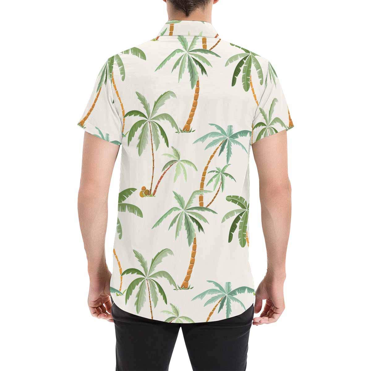 InterestPrint Casual Palm Leaves Ethnic Geometric Casual Button Down Beach Shirts