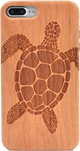 iPhone 7 Plus Wood Case Sea Turtle Handmade Carving Real Wood Case Wooden Case Cover with Soft TPU Back for Apple iPhone 7 Plus,iPhone 8 Plus (2017)