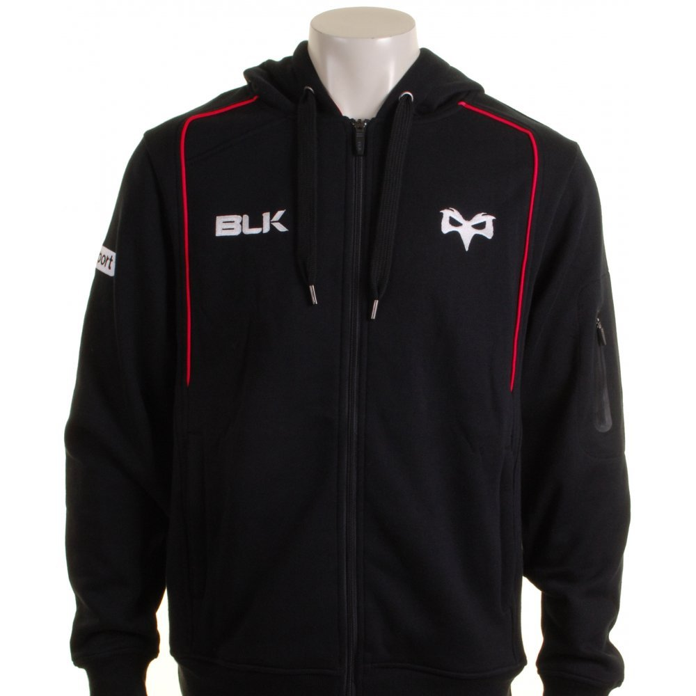 Blk Ospreys 2015 16 Full Zip Rugby Hooded Sweat
