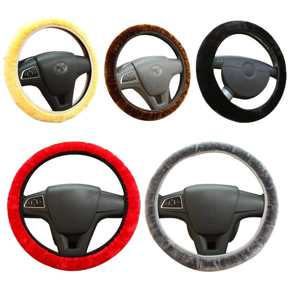 NewMoo Soft Plush Car DIY Steering Wheel Cover Braid On The Steering Wheel Winter Warm Covers Car Styling Interior Accessories
