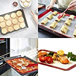 HANTAJANSS Silicone Baking Mat Set of 4, Half Sheets Cooking Macaron Pastry Mats, Professional Non-Stick Large Liner 11 5/8 ×16 1/2 13 THE PERFECT HELPER FOR BAKING: HANTAJANSS Bake mat set of 4 includes 3 most popular daily-use size baking sheets and a bonus oil brush. Solving all baking problems in this time! HIGH-TEMPERATURE RESISTANCE: Oven-safe -45 degrees F up to 480 degrees F! High-quality silicone distribute heat evenly along with the entire baking sheet. NON-STICK: Oil free. Fits half-sheet size pans. Bake food like a professional chef in your own home. No scorching food stick on the baking tray.