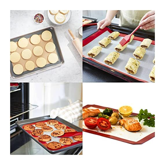 HANTAJANSS Silicone Baking Mat Set of 4, Half Sheets Cooking Macaron Pastry Mats, Professional Non-Stick Large Liner 11 5/8 ×16 1/2 6 THE PERFECT HELPER FOR BAKING: HANTAJANSS Bake mat set of 4 includes 3 most popular daily-use size baking sheets and a bonus oil brush. Solving all baking problems in this time! HIGH-TEMPERATURE RESISTANCE: Oven-safe -45 degrees F up to 480 degrees F! High-quality silicone distribute heat evenly along with the entire baking sheet. NON-STICK: Oil free. Fits half-sheet size pans. Bake food like a professional chef in your own home. No scorching food stick on the baking tray.