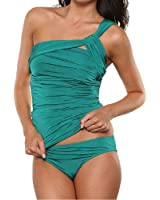 Huiyuzhi Women's One Shoulder Ruched Tankini Bikini Set Swimsuit(FBA-Huiyuzhi)